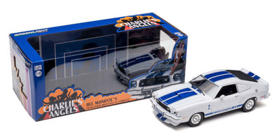 (Pre-Orders) 1:18 Charlie's Angels (1976-1981 TV Series) - 1976 Ford Mustang Cobra II - White with Blue Racing Stripes