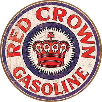 Tin Sign - Red Crown Gas (Weathered) (Round)