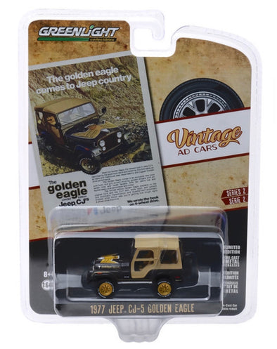 "1:64 Vintage Ad Cars Series 2 - 1977 Jeep CJ-5 Golden Eagle ""The Golden Eagle Comes to Jeep Country"""