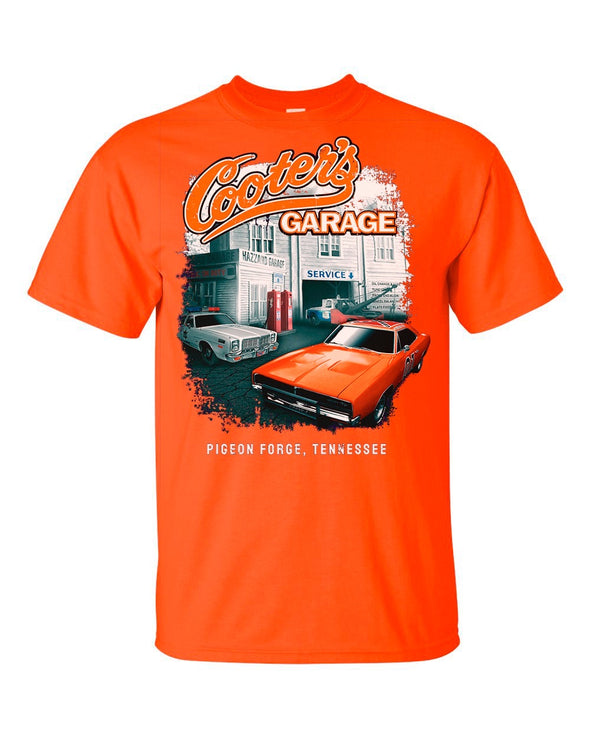 Cooter's Garage W/General Lee & Hazzard County Vehicles T-Shirt (Orange)
