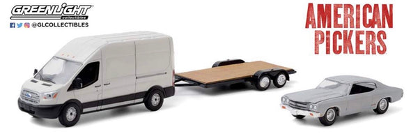 "OCTOBER 2020 PRE-ORDERS 1:64 American Pickers - 2015 Ford Transit LWB ""Antique Archaeology"" w/1970 Malibu onTrailer"