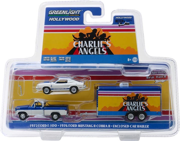 1:64 Hollywood Hitch & Tow Series 6 - Charlie's Angels (1976-81 TV Series) - 1972 Ford F-100 with 1976 Ford Mustang II Cobra II in Enclosed Car Hauler