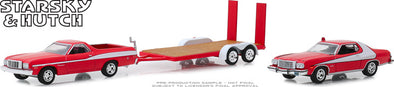1:64 Hollywood Hitch & Tow Series 7 - Starsky and Hutch (1975-79 TV Series) - 1976 Ford Ranchero with 1976 Ford Gran Torino on Flatbed Trailer