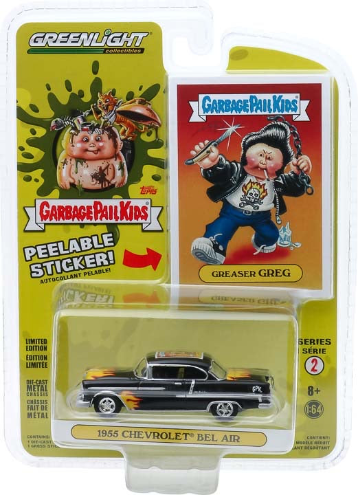 1:64 Garbage Pail Kids Series 2 - Greaser Greg - 1955 Chevrolet Bel Air with Flames