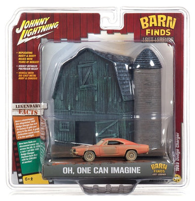 "JOHNNY LIGHTNING ""BARN FINDS"" BARN FAÇADE W/1969 DODGE CHARGER 1:64 SCALE"