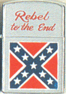 CONFEDERATE FLAG LIGHTER (SILVER) Rebel Til The End