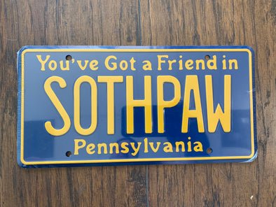 Sothpaw License Plate (Rocky)