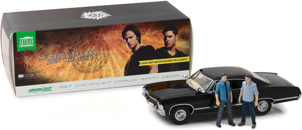 1:18 Artisan Collection - Supernatural (2005-Current TV Series) 1967 Chevrolet Impala Sport Sedan with Sam and Dean Figures