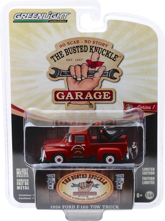 "1:64 Busted Knuckle Garage Series 1 - 1956 Ford F-100 Tow Truck ""Busted Knuckle Garage Parts & Service"""
