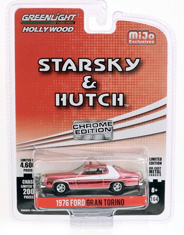 1:64 Hollywood - Starsky & Hutch (Chrome Edition) - 1976 Ford Gran Torino (Red Chrome)