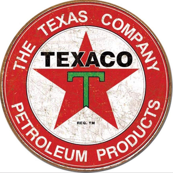Tin Sign - Texaco (Weathered) (Round)
