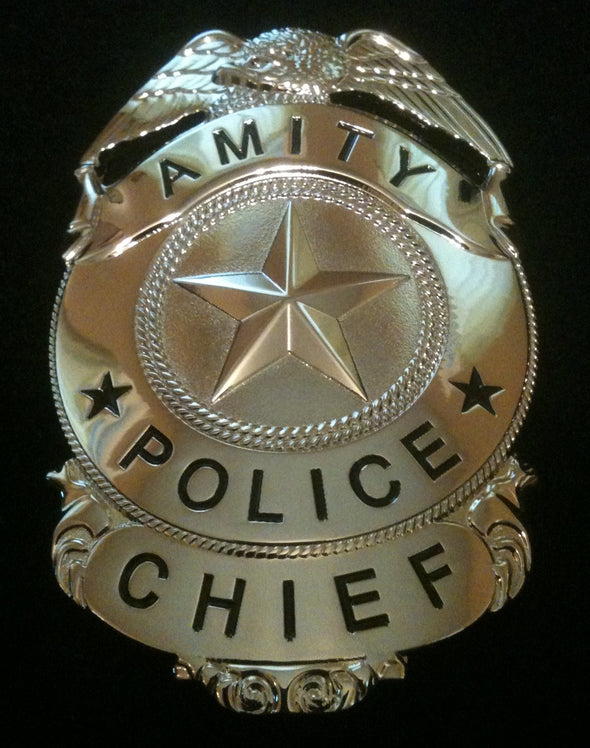 "Jaws Amity Chief Police Martin Brody Replica Badge 40th Anniversary ""Nickel Edition"""