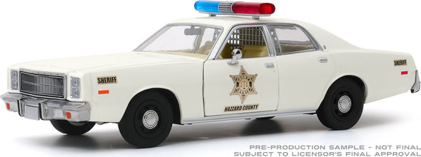 1:24 Scale Hazzard County Sheriff Car - 1977 Plymouth Fury