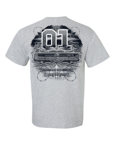 Light Grey Cooter's Garage General Lee Tattoo Car T-Shirt
