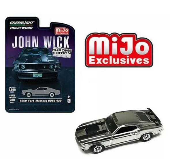 1:64 Hollywood - (Chrome Edition) 'John Wick' 1969 Ford Mustang Boss (Chrome)