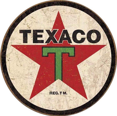 Tin Sign - Texaco 1936 Logo (Weathered) (Round)