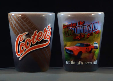 Cooter's Mountain Might Get'em Shot Glass