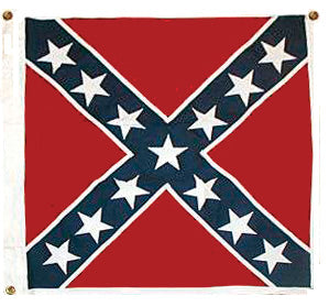 Confederate Flag Embriodered Cotton W/White Border