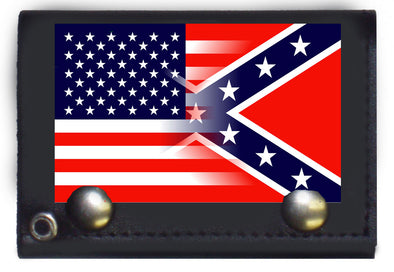 USA/CONFEDERATE FLAG COMBO TRI-FOLD WALLET