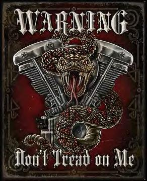 Warning Don't Tread On Me Metal Sign (16 X 12.5)