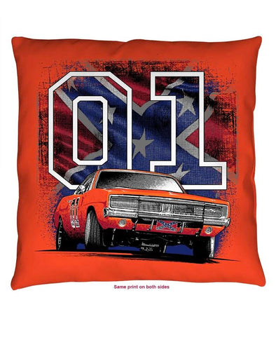 "Throw Pillow Cooter's ""General Lee 01 W/ Rebel Flag"""