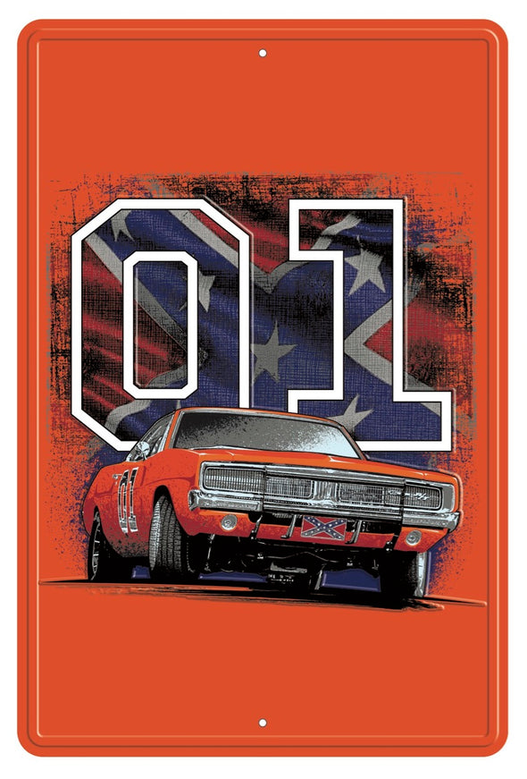 General Lee 01 with Flag Metal Sign (18 X 12)
