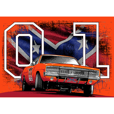 Stickers 01 General Lee With Confederate Flag