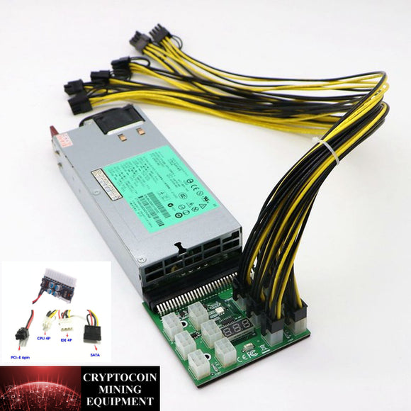 1200 Watt 110-240v Power Supply Kit 12x PCIE 6+2Pin Connections with ATX Motherboard Power Adapter - Cryptocoin Mining Equipment