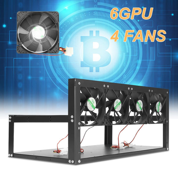 6 GPU Mining Rig Aluminum Case + 4 Fans Open Air Frame - Cryptocoin Mining Equipment