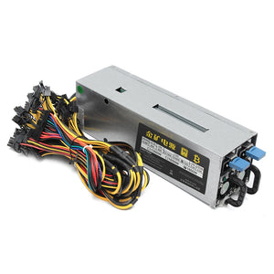 1600W 90Plus ATX GPU Mining Rig Power Supply Unit PSU 12x 8(6+2)Pin Power Outputs - Cryptocoin Mining Equipment