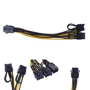 6 Pin Female to Dual 8 Pin (6+2) Male PCIE Power Cable 2ft EVGA/Modular Adapter - Cryptocoin Mining Equipment