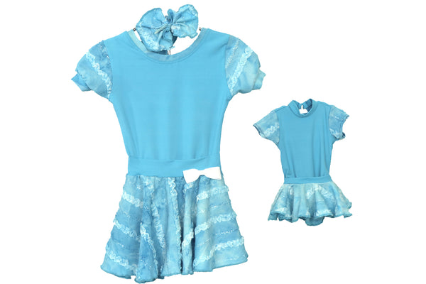 Me and My Dollie Matching Dance Outfit Set Deep Sky Blue