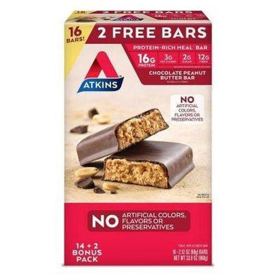 Atkins Protein-Rich Meal Bar, Chocolate Peanut Butter, Keto Friendly (16 ct.)