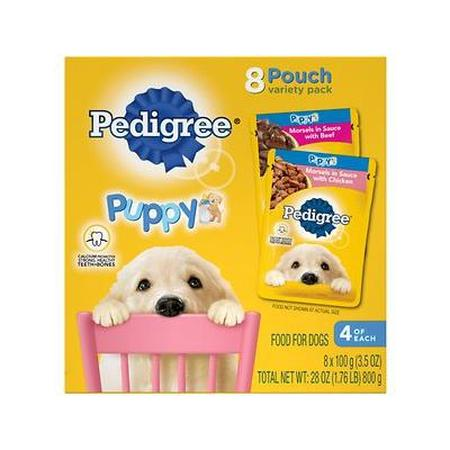Pedigree Choice Cuts Puppy Morsels In Sauce Wet Dog Food Varietypk With Chicken And With Beef, 3.5-Oz. Pouches