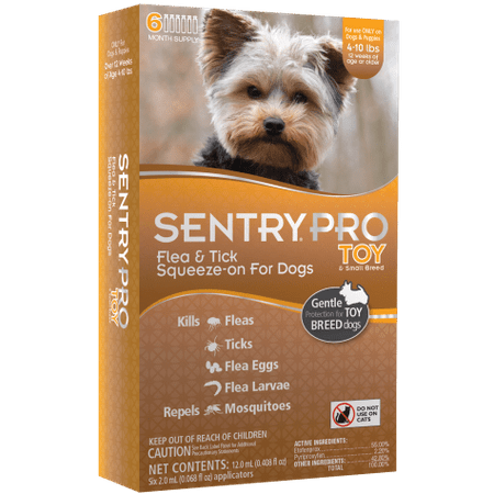 Sentry Pro Squeeze-On Toy & Small Breed Dogs 4 to 10 lbs. Flea & Tick Treatment, 6 Month Supply