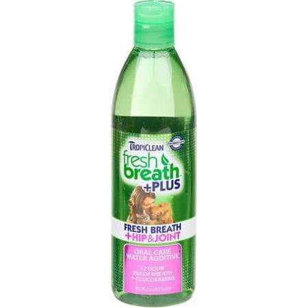 TropiClean Fresh Breath Plus Hip & Joint Oral Care Water Additive for Pets, 16 fl. oz.