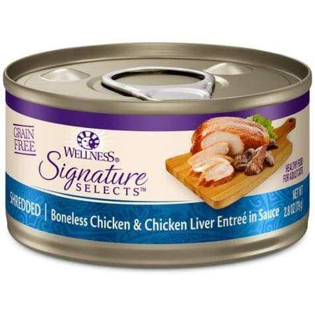 Wellness CORE Signature Selects Natural Grain Free Shredded Chicken & Chicken Liver Wet Cat Food, 2.8 oz.