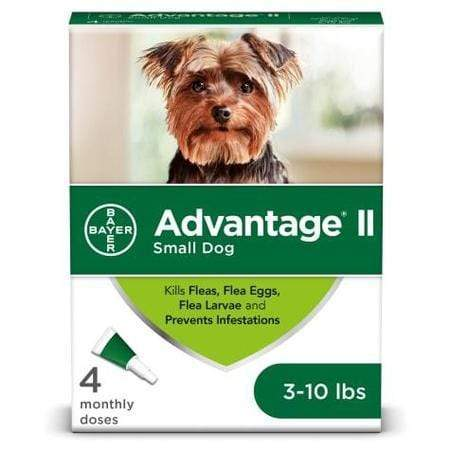 Advantage II Once-A-Month Topical Flea Treatment for Dogs & Puppies 3 to 10 lbs., Pack of 4
