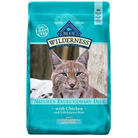 Blue Buffalo Wilderness Natural Adult High Protein Grain Free Indoor Hairball Control Chicken Dry Cat Food, 11 lbs.
