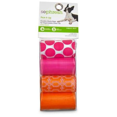 So Phresh Pick It Up Print & Scented Dog Waste Bags, Pink/Orange, 120 count