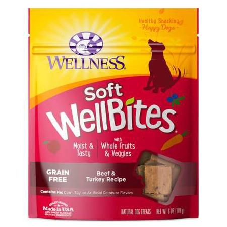 Wellness Natural Grain Free Wellbites Beef & Turkey Recipe Soft Dog Treats, 6 oz