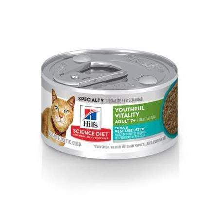 Hill's Science Diet Adult 7+ Youthful Vitality Tuna & Vegetable Stew Canned Cat Food, 2.9 oz., Case of 24