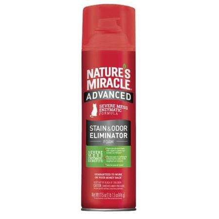 Nature's Miracle Advanced Stain and Odor Eliminator Foam For Severe Cat Messes Aerosol, 17.5 oz.