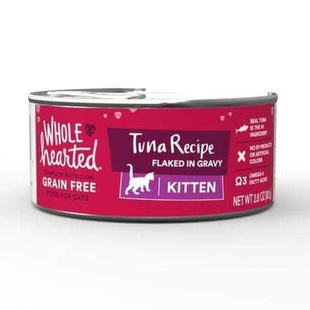 WholeHearted Canned Kitten Food - Grain Free Tuna Recipe Flaked in Gravy, 2.8 OZ, Case of 12