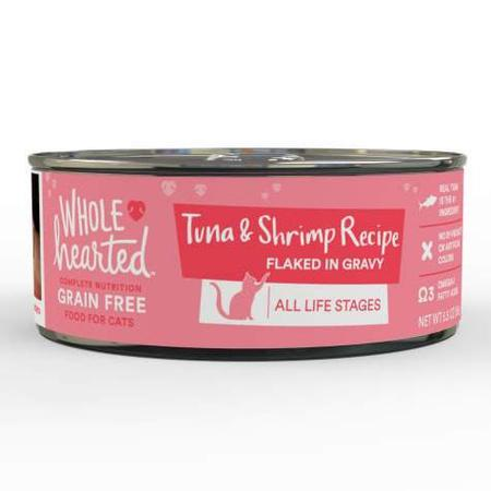 WholeHearted All Life Stages Canned Cat Food - Grain Free Tuna and Shrimp Recipe Flaked in Gravy, 5.5 OZ, Case of 12