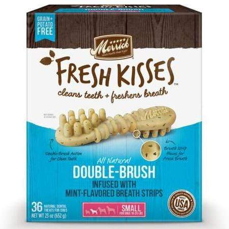 Merrick Fresh Kisses Mint Breath Strips Small Brush Dental Dog Treats, 36 Count