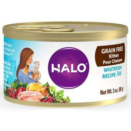 Halo Grain Free Kitten Whitefish Canned Cat Food, 3 oz., Case of 12