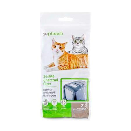 So Phresh Zeolite Charcoal Filters for Hooded Cat Litter Boxes, Count of 2