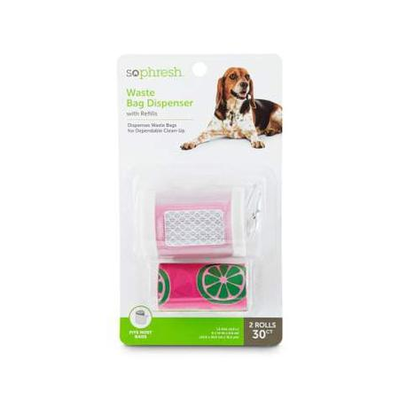 So Phresh Pink and Clear Dog Waste Bag Dispenser with Refills, Count of 30