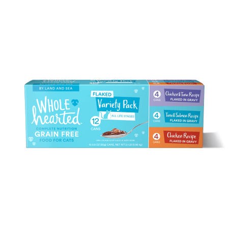 WholeHearted Grain Free By Land and Sea Flaked Wet Cat Food Variety Pack for All Life Stages, 2.8 oz.